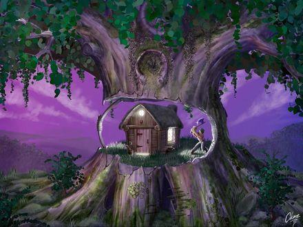 Обои Глупый дровосек рубит дерево, в дупле которого стоит его дом