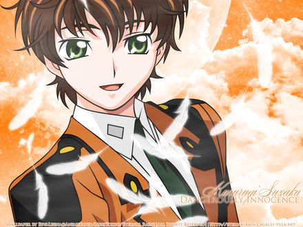 Обои Сузаку из аниме 'Code Geass / Код Гиасс' и падающие белые перья на фоне неба (Kururugi Suzaku Dangerously Innocence)
