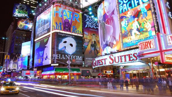 Обои Нью-Йорк. Таймс -сквер утопает в буйстве рекламных огней.