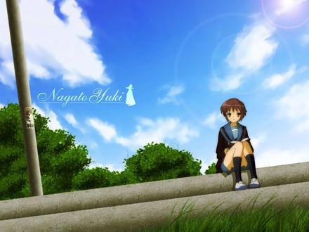 Обои Нагато Юки / Nagato Yuki из аниме 'Меланхолия Харухи Судзумии / The Melancholy of Haruhi Suzumiya'