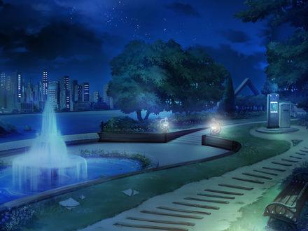 Обои Парк с фонтаном на берегу реки ночью