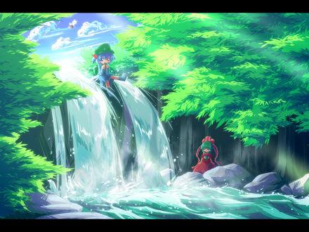 Обои Девочки у водопада