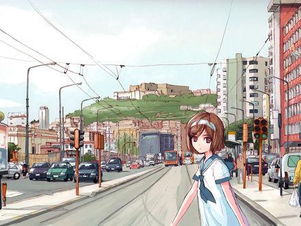 Обои Девочка переходит дорогу