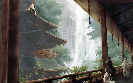Обои Гейша, ниндзя и мудрец в японском храме