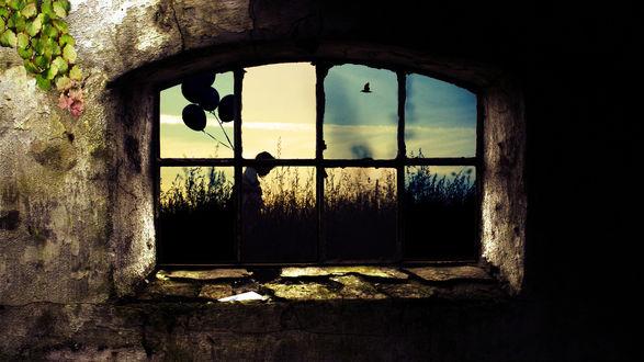 Обои Окно в старом доме, поросшем плющем, через которое видно девушку со связкой воздушных шаров
