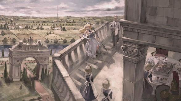 Обои Девушка стоит, облокотившись на перила замка, рядом с бокалом вина и копьём, и смотрит в сторону. Около неё стоят слуги - дворецкий и горничные, одна из горничных накрывает на стол