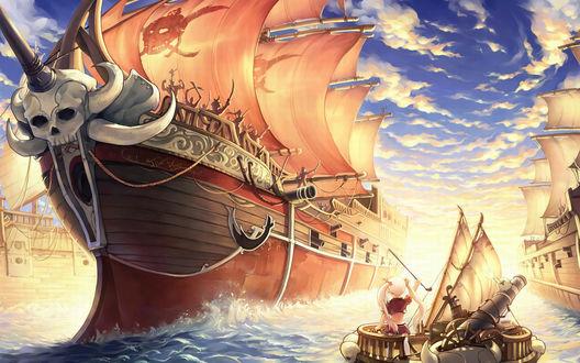Обои Девочка на маленьком кораблике с пушкой плывёт между большими воюющими кораблями