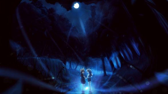 Обои Вокалоиды Кагамине Лен и Рин ночью в лесу у водопада стоят в воде, освещённые луной и держась за руки