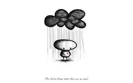 Обои Над человечком туча, из которой льется дождь (The raining always starts when you go away)