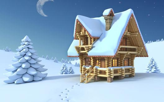 Обои Снежный пейзаж, елки и деревянный домик создают зимнее настроение