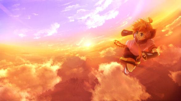 Обои Вокалоид Кагамине Лен летит по небу на закате