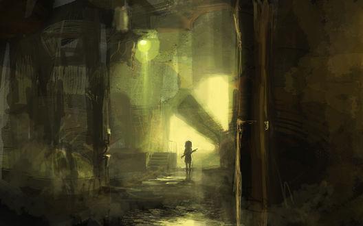 Обои Силуэт человека, с чем-то в руках, в подземелье, освещённом зелёным фонарём