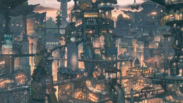 Обои Вечерний город будущего
