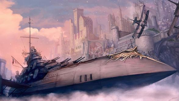 Обои Военный корабль и самолёт у стен города