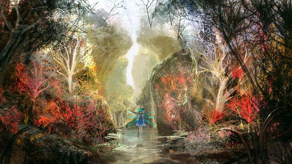 Обои Ледяная фея Сырно / Cirno из Тохо / Touhou посреди туманного озера