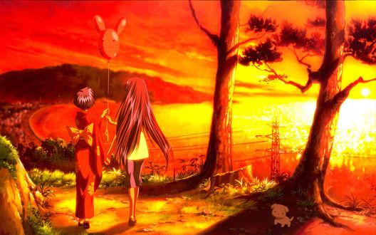 Обои Две девушки с воздушным шариком и щеночек идут по тропинке на закате, аниме Air / Высь
