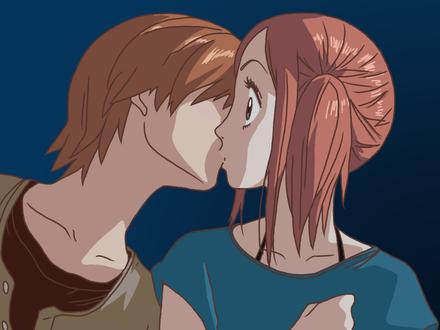 Обои Отани целует Рису из аниме 'Lovely complex'