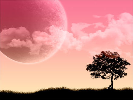 Обои Одинокий человек с большим сердцем сидит под деревом