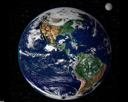 Обои Земля и луна из космоса