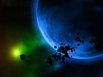 Обои Голубая планета, окружённая астероидами вдали от другой планеты и ее спутников