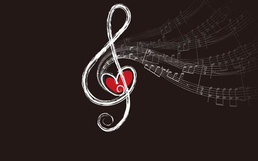 Обои От скрипичного ключа отходят веточки нот