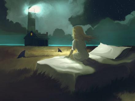 Обои Девочке снится, что она сидит на своей кровати в поле, в котором плавают акулы, а за ее домом стоит маяк