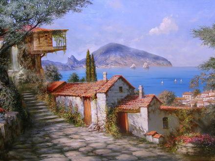 Обои Дома с красными черепичными крышами на фоне горы моря и неба