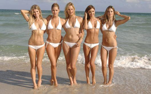 Обои Пять моделей Victoria`s Secret: Эрин Хизертон (Erin Heatherton), Даутзен Крус (Doutzen Kroes), Каролина Куркова (Karolina Kurkova), Миранда Керр (Miranda Kerr) и Алессандра Амброзио (Alessandra Ambrosio)  на фоне моря в белых купальниках
