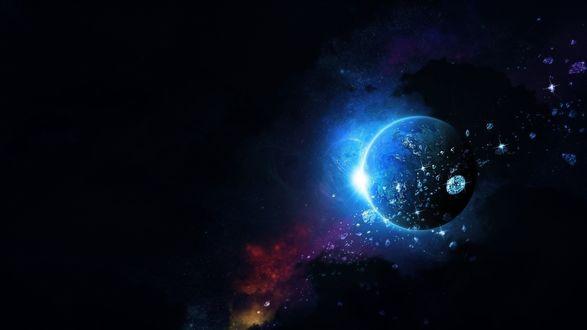 Обои Космос с планетой и метеоритами в виде драгоценных камней
