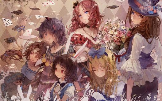 Обои Alice In Wonderland / Алиса в стране чудес в стиле аниме