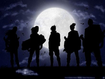 Обои Нинзя звука из аниме 'Naruto / Наруто' стоят на фоне луны (Naruto a final farewel)