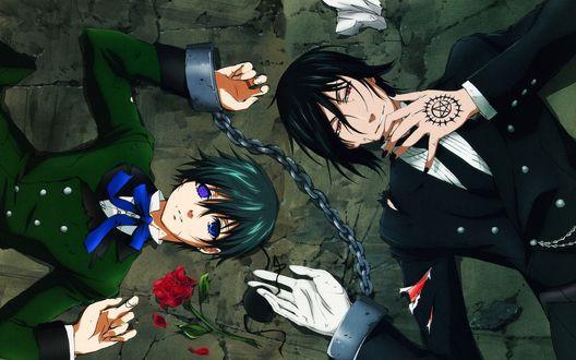 Обои для рабочего стола Себастьян и Сиэль из аниме 'Тёмный дворецкий / Kuroshitsuji' лежат прикованные друг к другу кандалами за руки (© D.Phantom),Добавлено: 17.09.2011 00:21:37