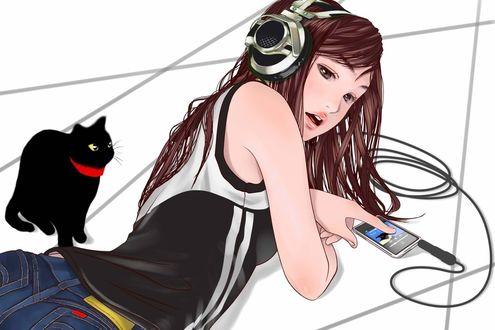 Обои Девушка лежит на полу и слушает музыку, рядом сидит чёрная кошка