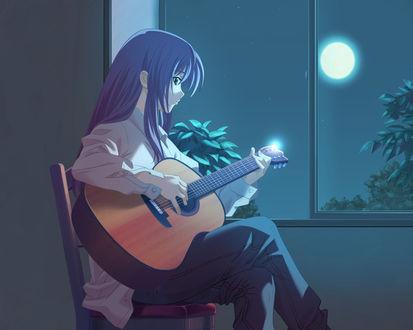 Обои Девушка, лунной ночью, сидя на стуле у окна, играет на гитаре