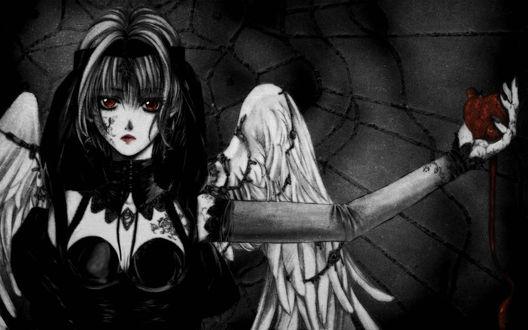 Обои Тёмный ангел с сердцем в руке