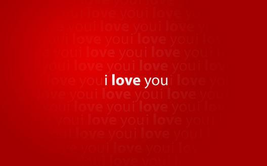 Обои I love you / Я тебя люблю на красном фоне