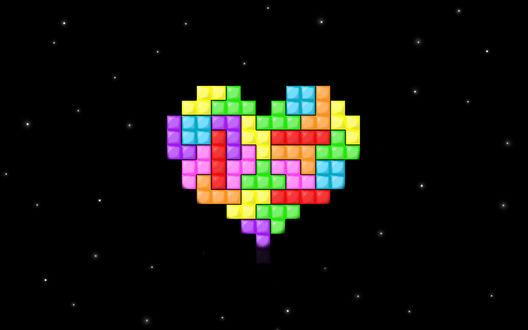 Обои Компьютерная любовь, Сердечко из тетрисных фигур