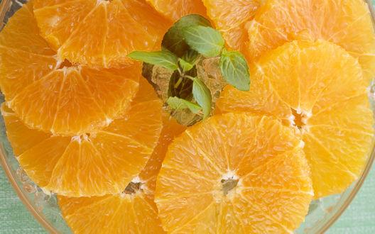 Обои Нарезанные дольки апельсина