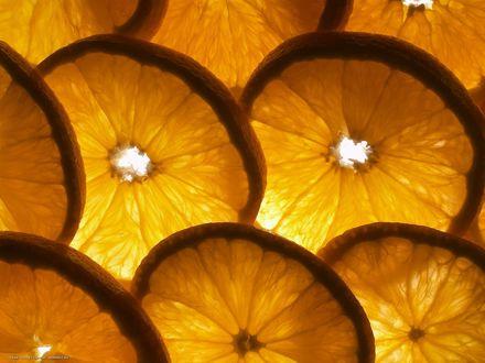 Обои Кусочки апельсина