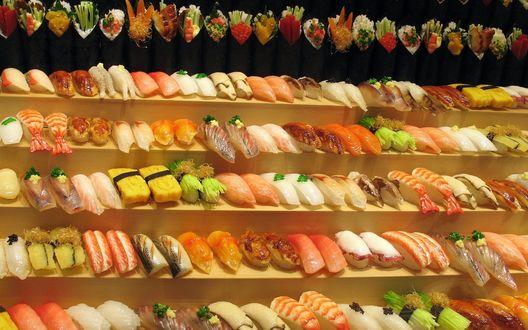 Обои Все разновидности суши и роллов