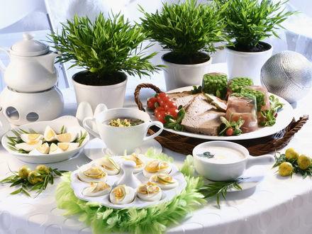 Обои Помидоры черри, брусника, ветчина, зеленый горошек, студень, перепелиные яйца, чесночный соус, отварные яйца фаршированные лимоном