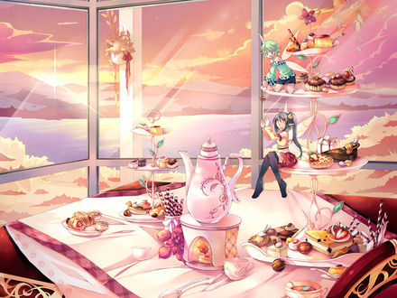 Обои Две феи на празднично сервированном сладком столе с множеством разных вкусностей
