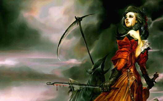 Обои Девушка со скрипкой и окровавленной струной в руке, рядом Смерть с косой