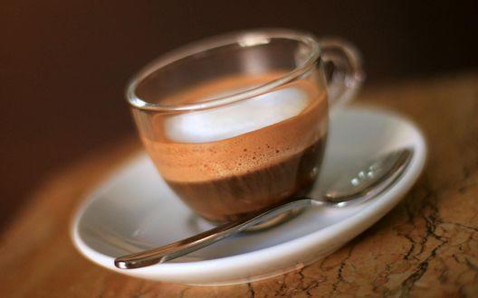 Обои Кофе в прозрачной чашке