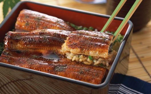 Обои Рыба с рисом