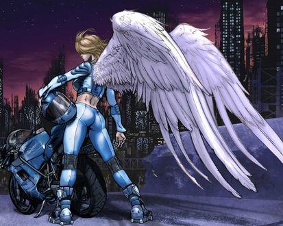 Обои Ангел-байкер