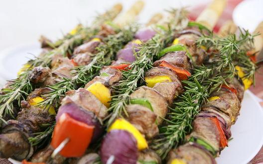 Обои Вкуснейшая еда, мясной шашлык с овощами и еловые ветки