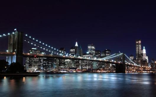 Обои Нью-Йорк ночью, Бруклинский мост