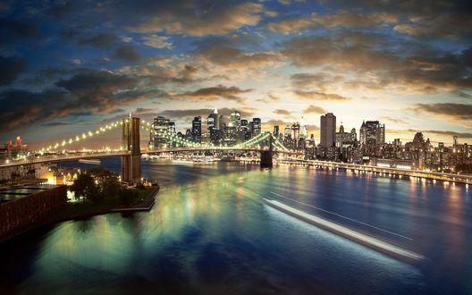 Обои Нью-Йорк на закате, Бруклинский мост