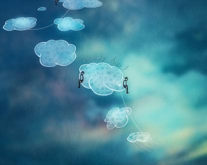 Обои Размытое небо с облаками на ниточке, на одном облаке сидят два человечка (cloudy Mood)